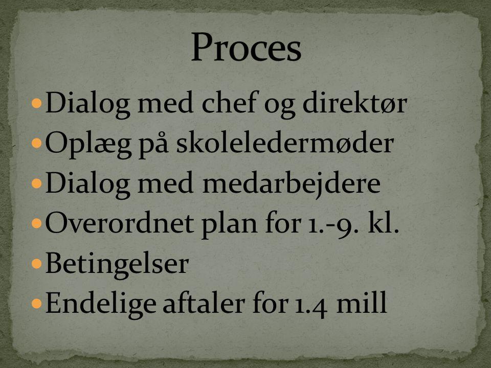  Dialog med chef og direktør  Oplæg på skoleledermøder  Dialog med medarbejdere  Overordnet plan for 1.-9.
