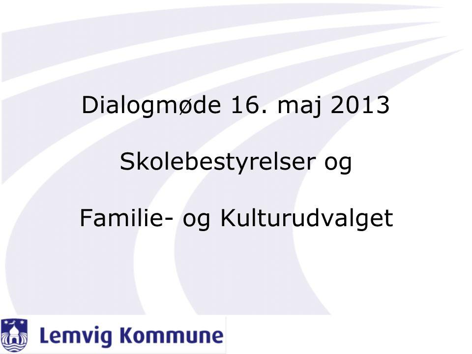 Dialogmøde 16. maj 2013 Skolebestyrelser og Familie- og Kulturudvalget