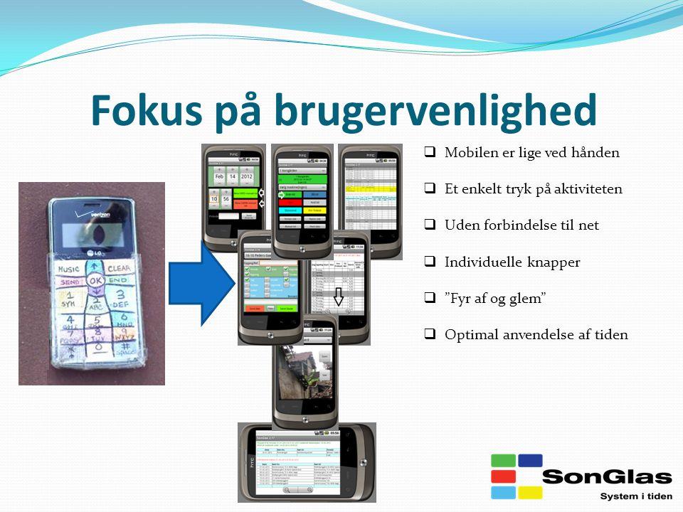 Fokus på brugervenlighed  Mobilen er lige ved hånden  Et enkelt tryk på aktiviteten  Uden forbindelse til net  Individuelle knapper  Fyr af og glem  Optimal anvendelse af tiden