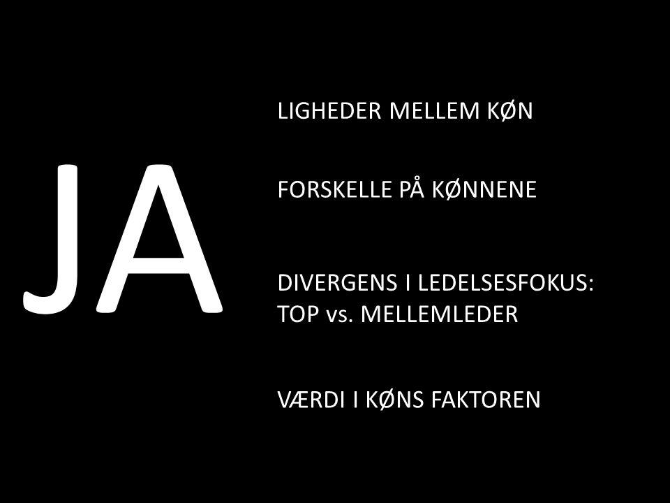 JA LIGHEDER MELLEM KØN FORSKELLE PÅ KØNNENE VÆRDI I KØNS FAKTOREN DIVERGENS I LEDELSESFOKUS: TOP vs.