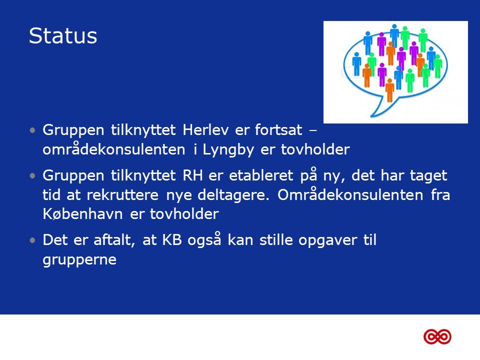Status •Gruppen tilknyttet Herlev er fortsat – områdekonsulenten i Lyngby er tovholder •Gruppen tilknyttet RH er etableret på ny, det har taget tid at rekruttere nye deltagere.