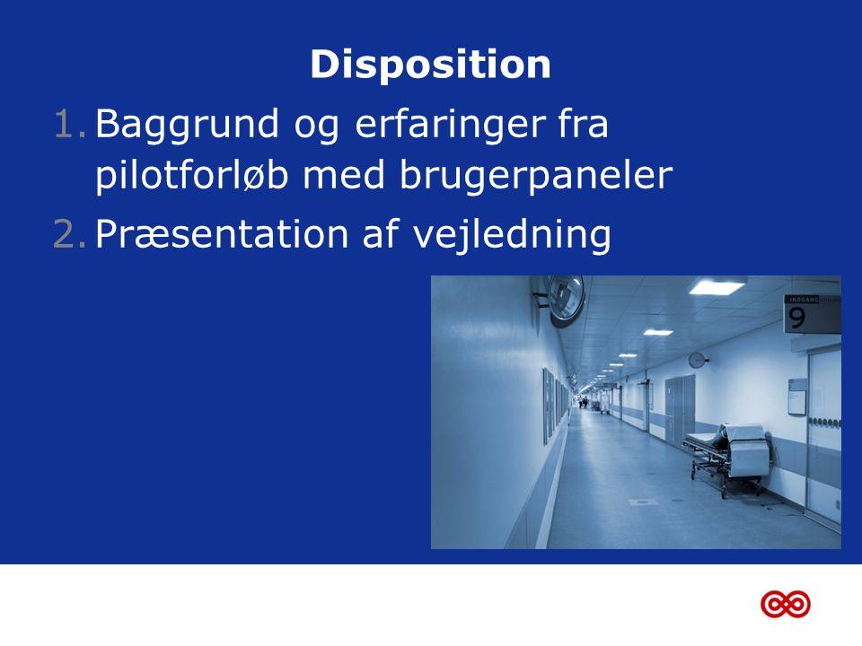 Disposition 1.Baggrund og erfaringer fra pilotforløb med brugerpaneler 2.Præsentation af vejledning
