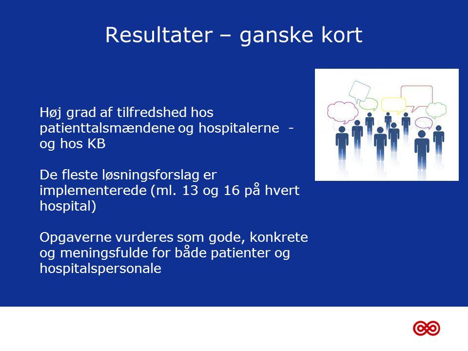 Resultater – ganske kort Høj grad af tilfredshed hos patienttalsmændene og hospitalerne - og hos KB De fleste løsningsforslag er implementerede (ml.