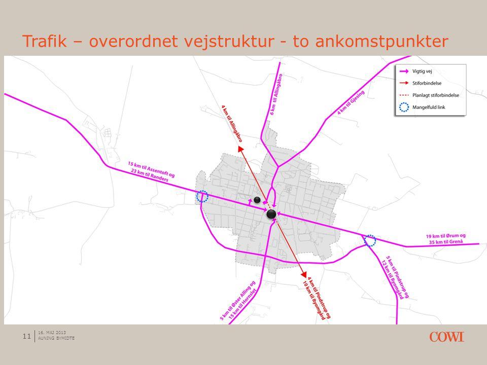 Trafik – overordnet vejstruktur - to ankomstpunkter 11 16. MAJ 2013 AUNING BYMIDTE