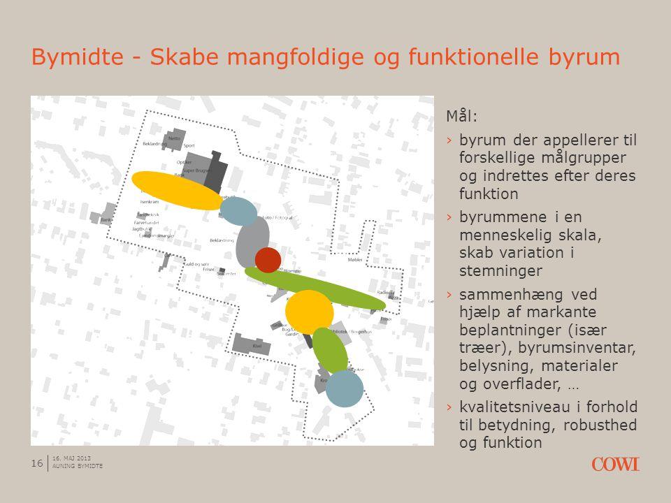 Mål: ›byrum der appellerer til forskellige målgrupper og indrettes efter deres funktion ›byrummene i en menneskelig skala, skab variation i stemninger ›sammenhæng ved hjælp af markante beplantninger (især træer), byrumsinventar, belysning, materialer og overflader, … ›kvalitetsniveau i forhold til betydning, robusthed og funktion Bymidte - Skabe mangfoldige og funktionelle byrum 16 16.
