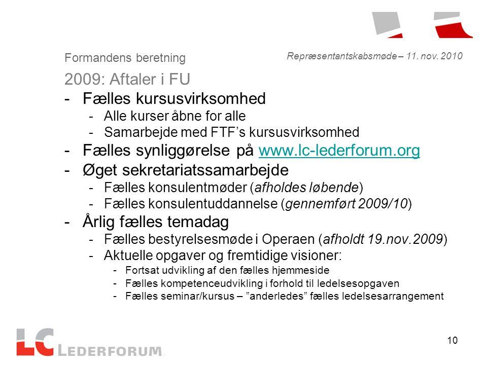 10 Formandens beretning 2009: Aftaler i FU -Fælles kursusvirksomhed -Alle kurser åbne for alle -Samarbejde med FTF's kursusvirksomhed -Fælles synliggørelse på www.lc-lederforum.orgwww.lc-lederforum.org -Øget sekretariatssamarbejde -Fælles konsulentmøder (afholdes løbende) -Fælles konsulentuddannelse (gennemført 2009/10) -Årlig fælles temadag -Fælles bestyrelsesmøde i Operaen (afholdt 19.nov.2009) -Aktuelle opgaver og fremtidige visioner: -Fortsat udvikling af den fælles hjemmeside -Fælles kompetenceudvikling i forhold til ledelsesopgaven -Fælles seminar/kursus – anderledes fælles ledelsesarrangement Repræsentantskabsmøde – 11.