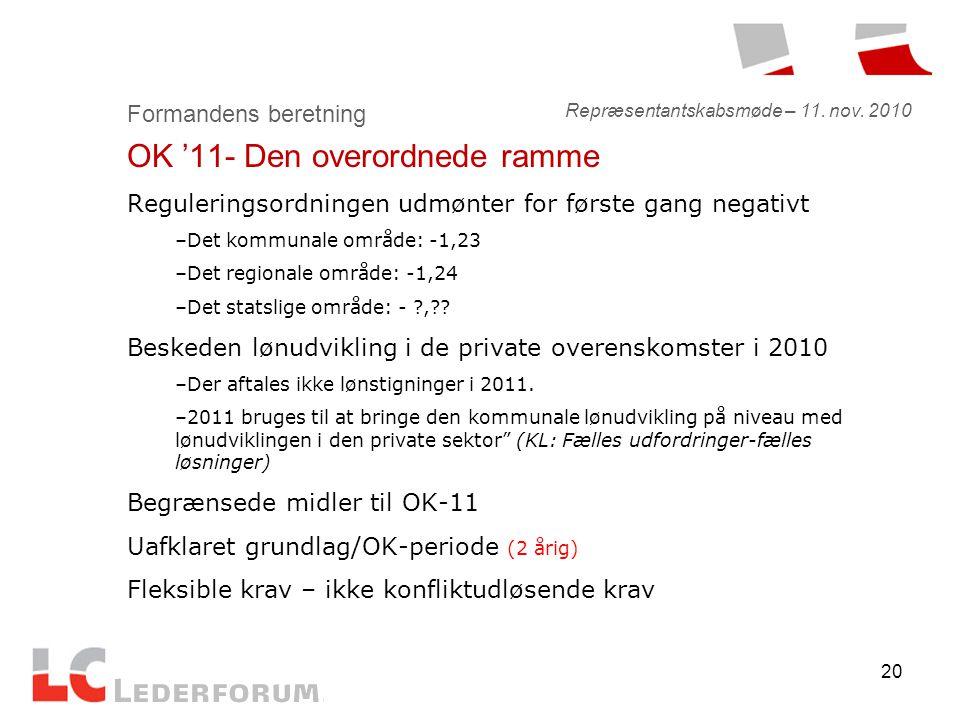 20 Formandens beretning OK '11- Den overordnede ramme Reguleringsordningen udmønter for første gang negativt –Det kommunale område: -1,23 –Det regionale område: -1,24 –Det statslige område: - , .