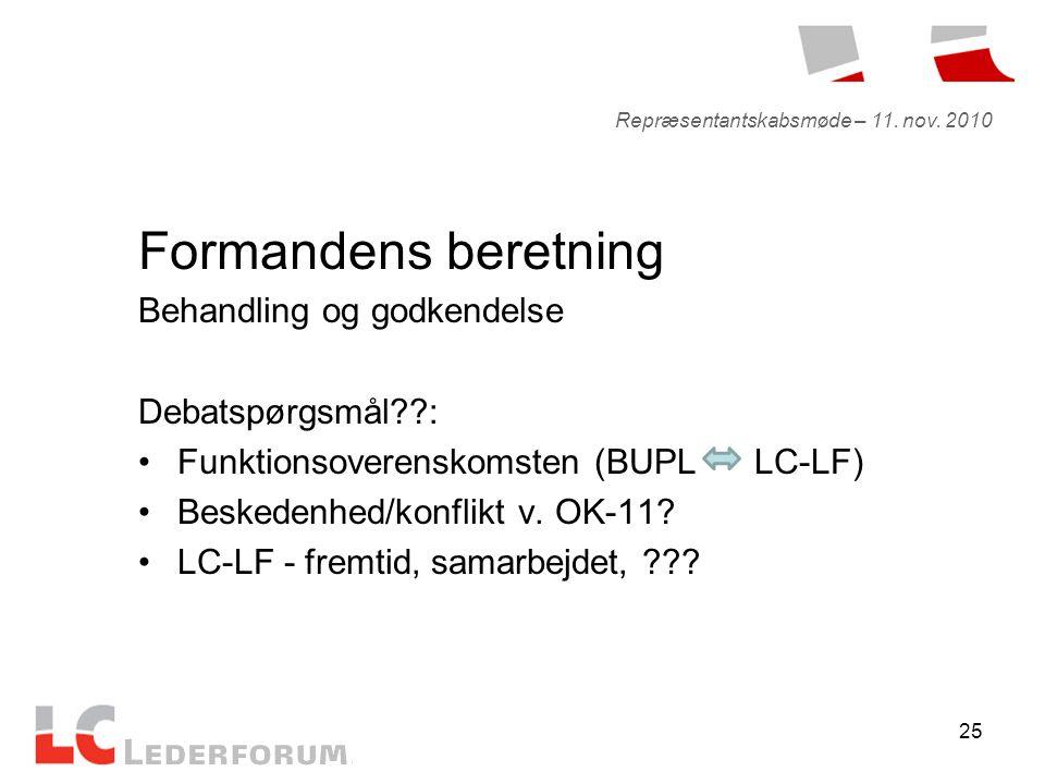 25 Formandens beretning Behandling og godkendelse Debatspørgsmål : •Funktionsoverenskomsten (BUPL LC-LF) •Beskedenhed/konflikt v.