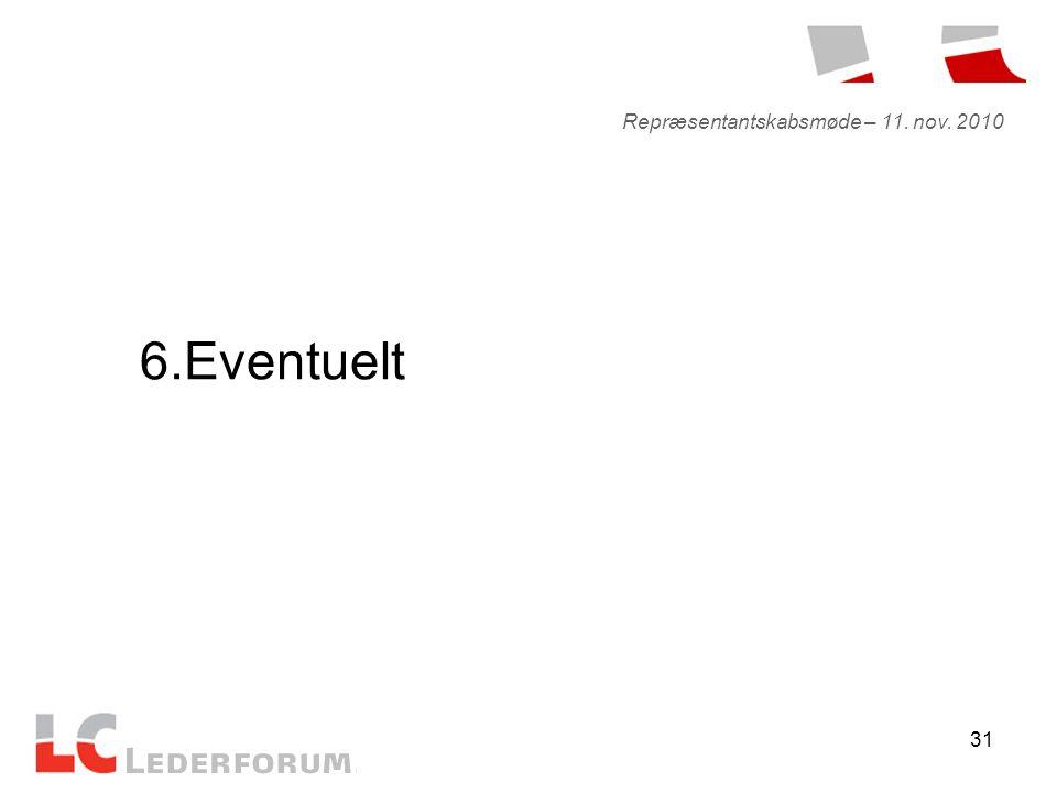 31 6.Eventuelt Repræsentantskabsmøde – 11. nov. 2010