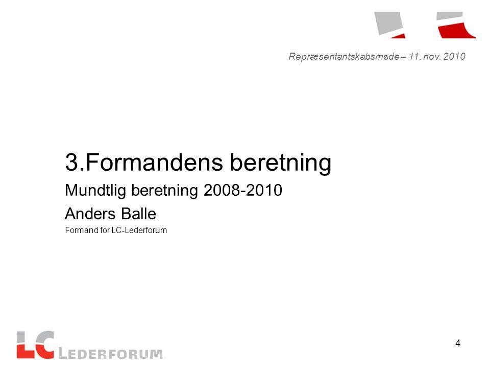 4 3.Formandens beretning Mundtlig beretning 2008-2010 Anders Balle Formand for LC-Lederforum Repræsentantskabsmøde – 11.