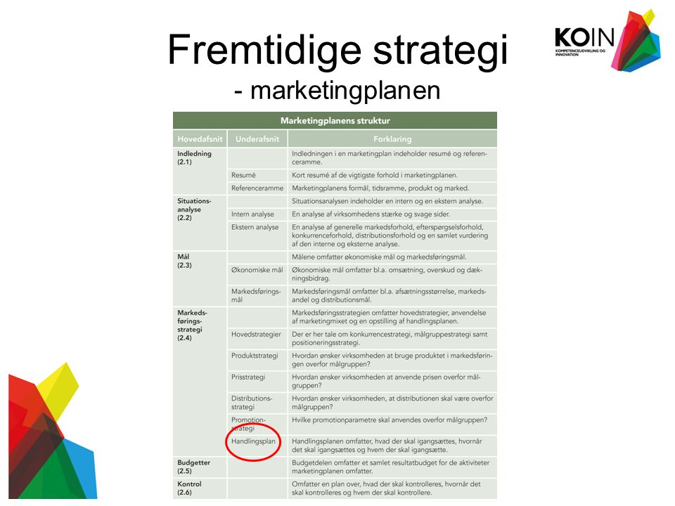 Fremtidige strategi - marketingplanen Kompetenceudvikling og innovation i yderområder