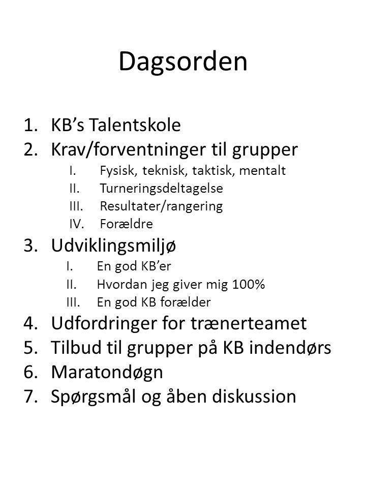 Dagsorden 1.KB's Talentskole 2.Krav/forventninger til grupper I.Fysisk, teknisk, taktisk, mentalt II.Turneringsdeltagelse III.Resultater/rangering IV.Forældre 3.Udviklingsmiljø I.En god KB'er II.Hvordan jeg giver mig 100% III.En god KB forælder 4.Udfordringer for trænerteamet 5.Tilbud til grupper på KB indendørs 6.Maratondøgn 7.Spørgsmål og åben diskussion