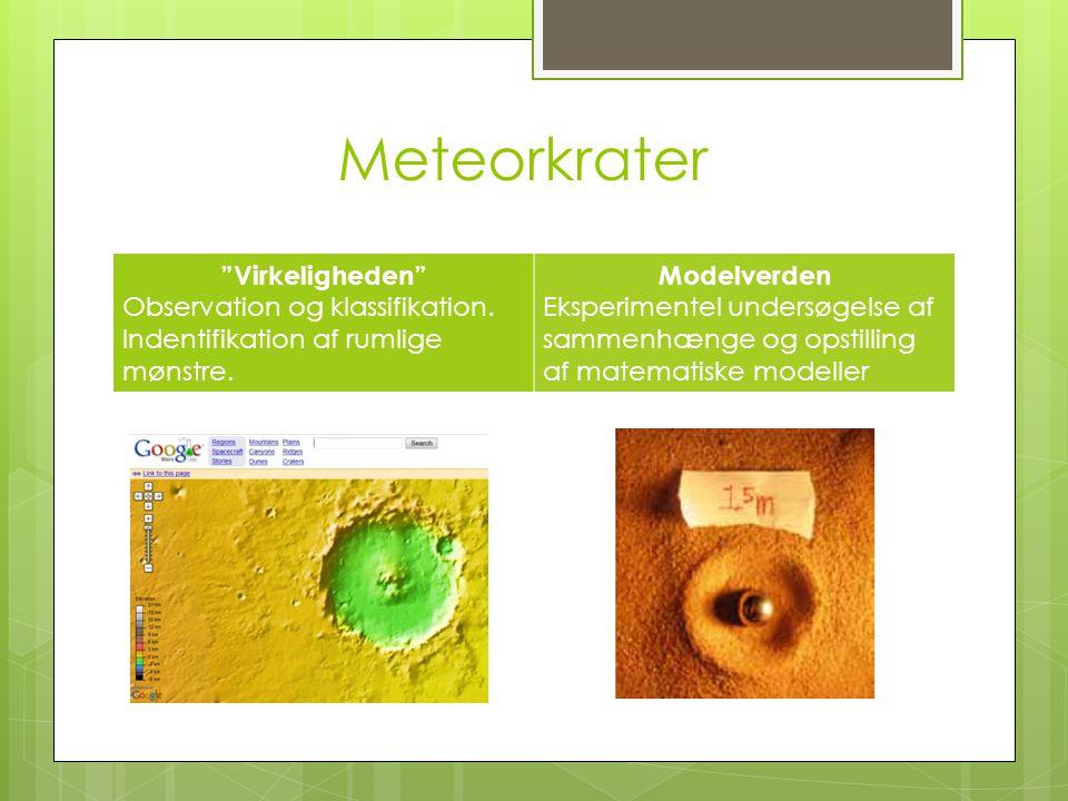 """Meteorkrater """"Virkeligheden"""" Observation og klassifikation. Indentifikation af rumlige mønstre. Modelverden Eksperimentel undersøgelse af sammenhænge"""