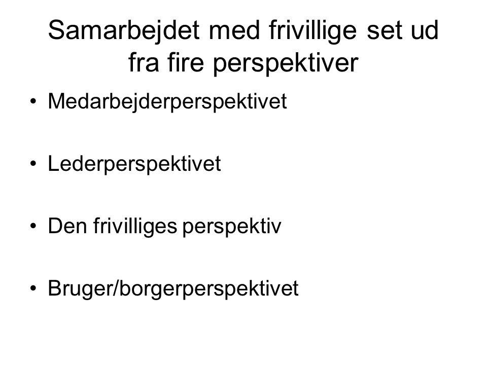 Samarbejdet med frivillige set ud fra fire perspektiver •Medarbejderperspektivet •Lederperspektivet •Den frivilliges perspektiv •Bruger/borgerperspektivet