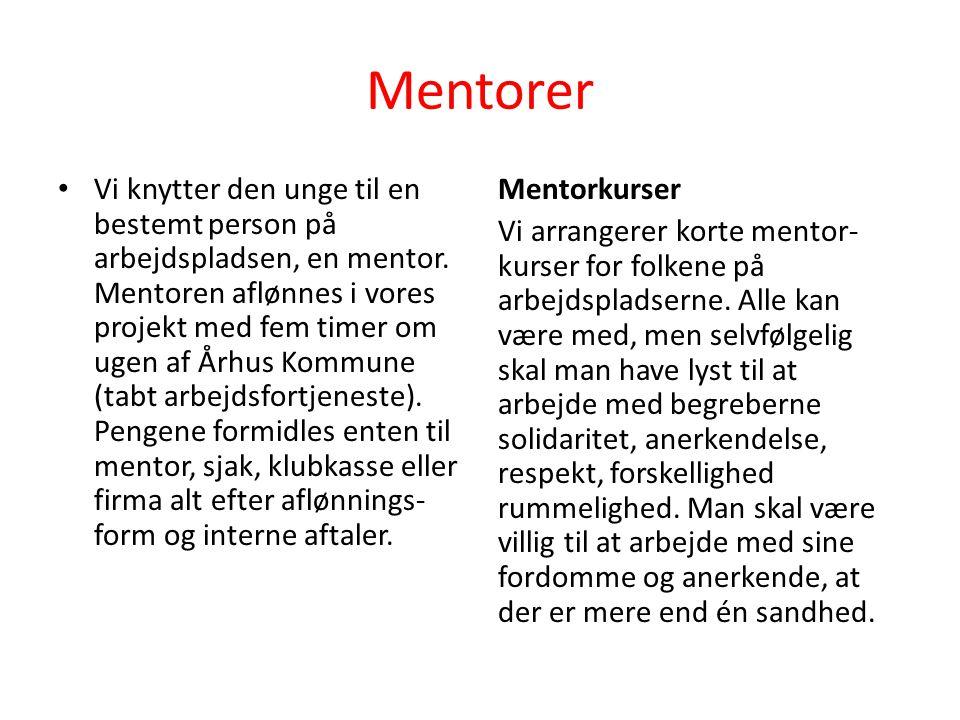 Mentorer • Vi knytter den unge til en bestemt person på arbejdspladsen, en mentor.
