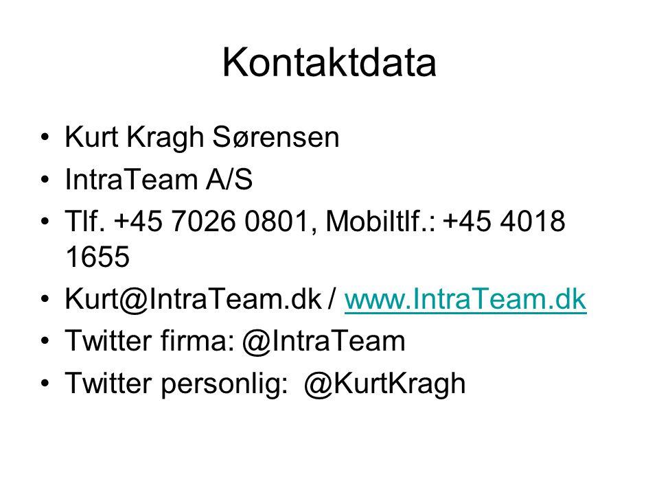 Kontaktdata •Kurt Kragh Sørensen •IntraTeam A/S •Tlf.