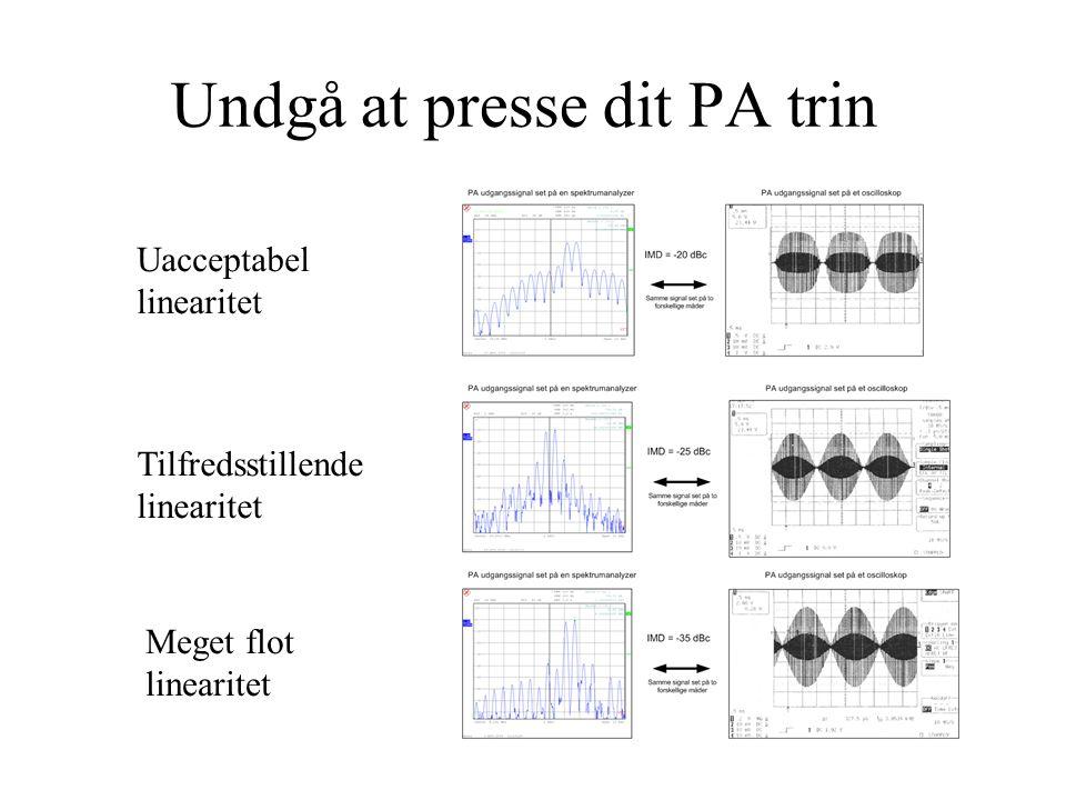 Undgå at presse dit PA trin Uacceptabel linearitet Tilfredsstillende linearitet Meget flot linearitet