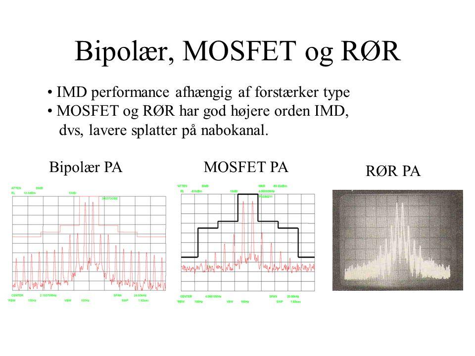Bipolær, MOSFET og RØR • IMD performance afhængig af forstærker type • MOSFET og RØR har god højere orden IMD, dvs, lavere splatter på nabokanal.