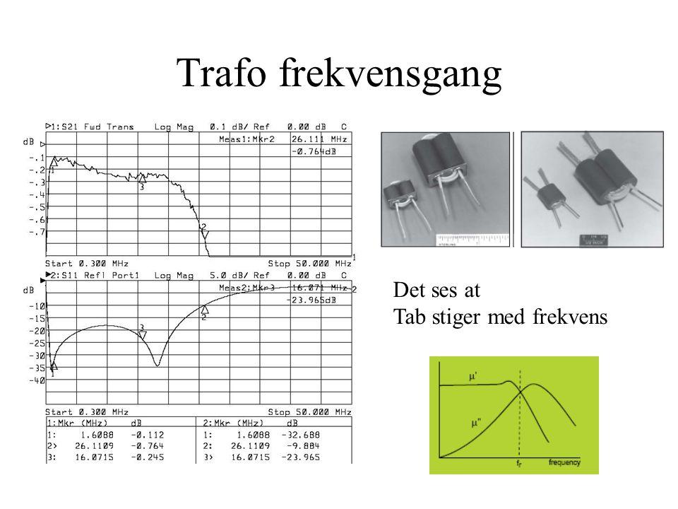 Trafo frekvensgang Det ses at Tab stiger med frekvens