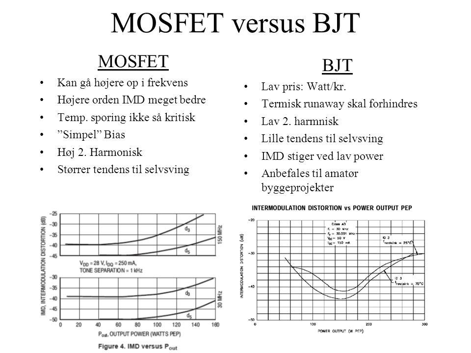 MOSFET versus BJT MOSFET •Kan gå højere op i frekvens •Højere orden IMD meget bedre •Temp.