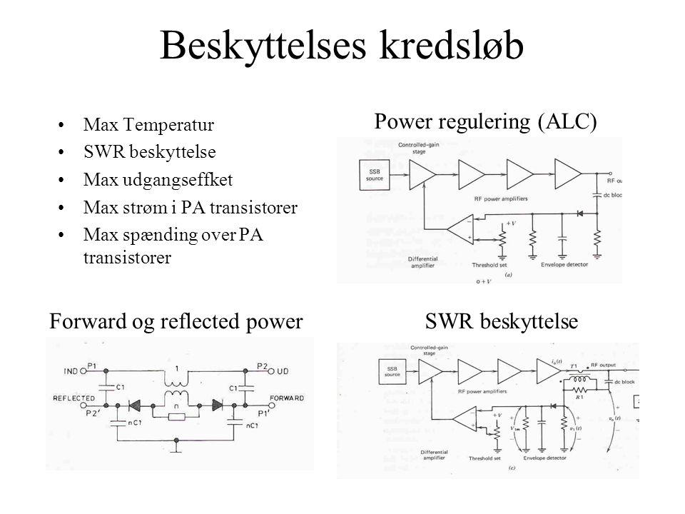 Beskyttelses kredsløb •Max Temperatur •SWR beskyttelse •Max udgangseffket •Max strøm i PA transistorer •Max spænding over PA transistorer SWR beskyttelse Power regulering (ALC) Forward og reflected power