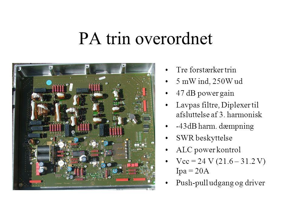 PA trin overordnet •Tre forstærker trin •5 mW ind, 250W ud •47 dB power gain •Lavpas filtre, Diplexer til afsluttelse af 3.