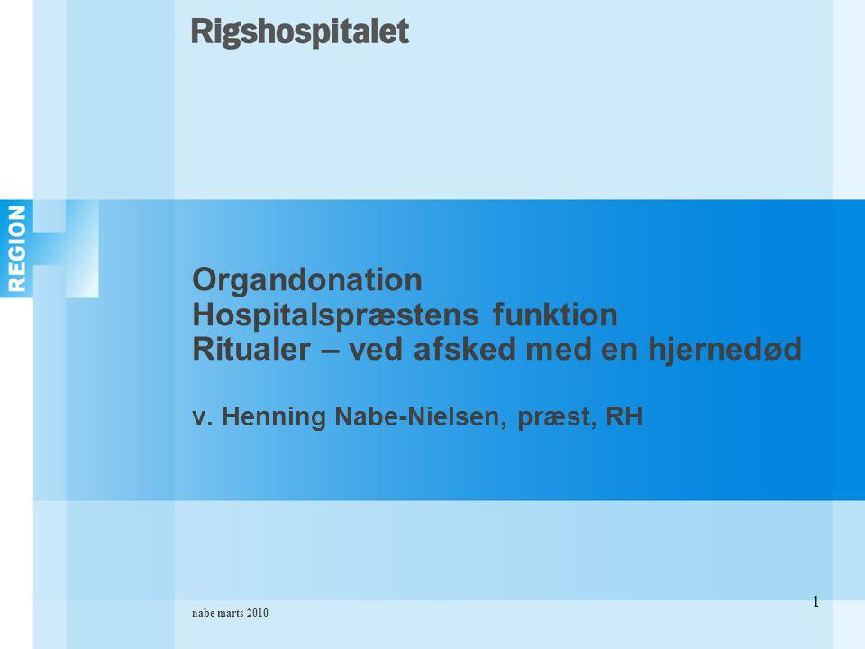 nabe marts 2010 1 Organdonation Hospitalspræstens funktion Ritualer – ved afsked med en hjernedød v.