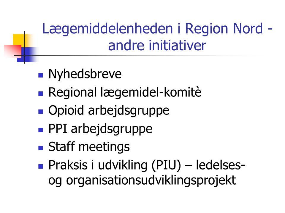 Lægemiddelenheden i Region Nord - andre initiativer  Nyhedsbreve  Regional lægemidel-komitè  Opioid arbejdsgruppe  PPI arbejdsgruppe  Staff meetings  Praksis i udvikling (PIU) – ledelses- og organisationsudviklingsprojekt