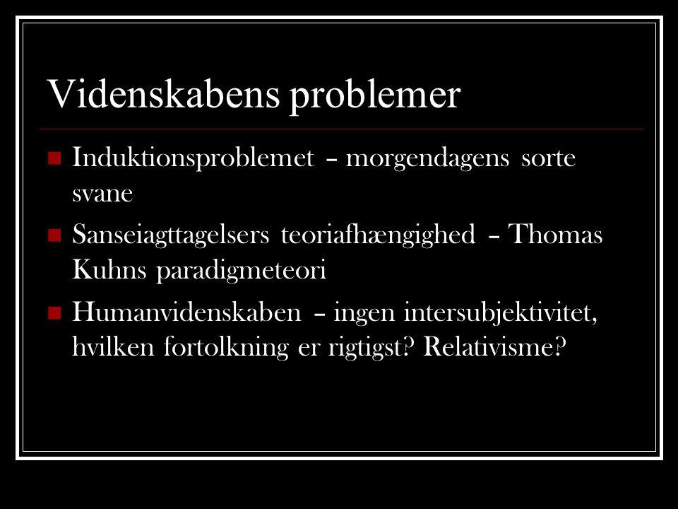 Videnskabens problemer  Induktionsproblemet – morgendagens sorte svane  Sanseiagttagelsers teoriafhængighed – Thomas Kuhns paradigmeteori  Humanvidenskaben – ingen intersubjektivitet, hvilken fortolkning er rigtigst.