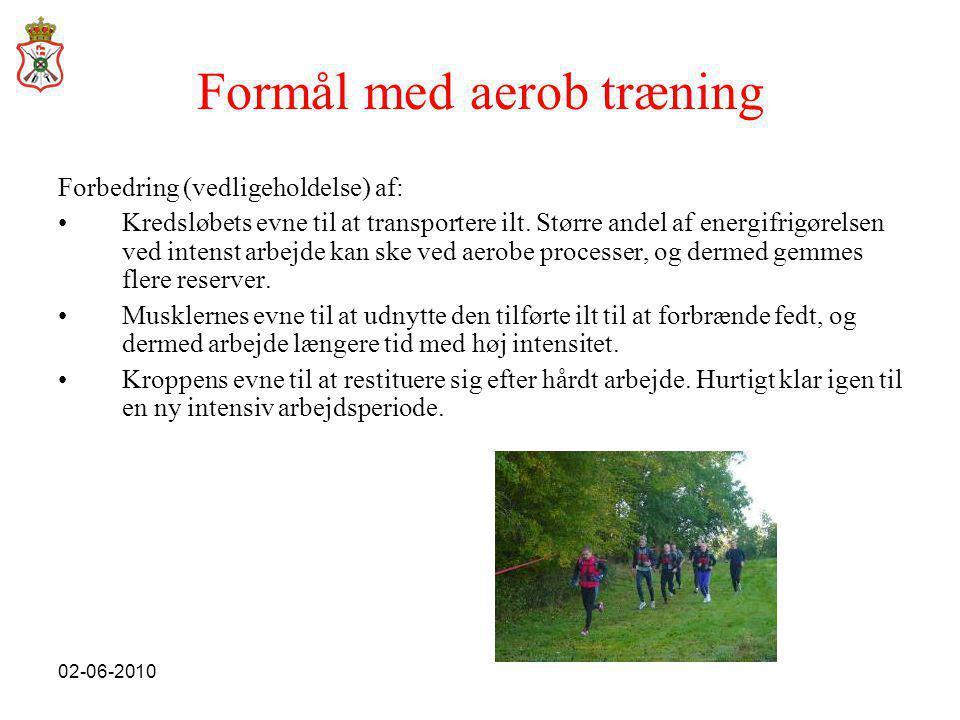 02-06-2010 Formål med aerob træning Forbedring (vedligeholdelse) af: •Kredsløbets evne til at transportere ilt.
