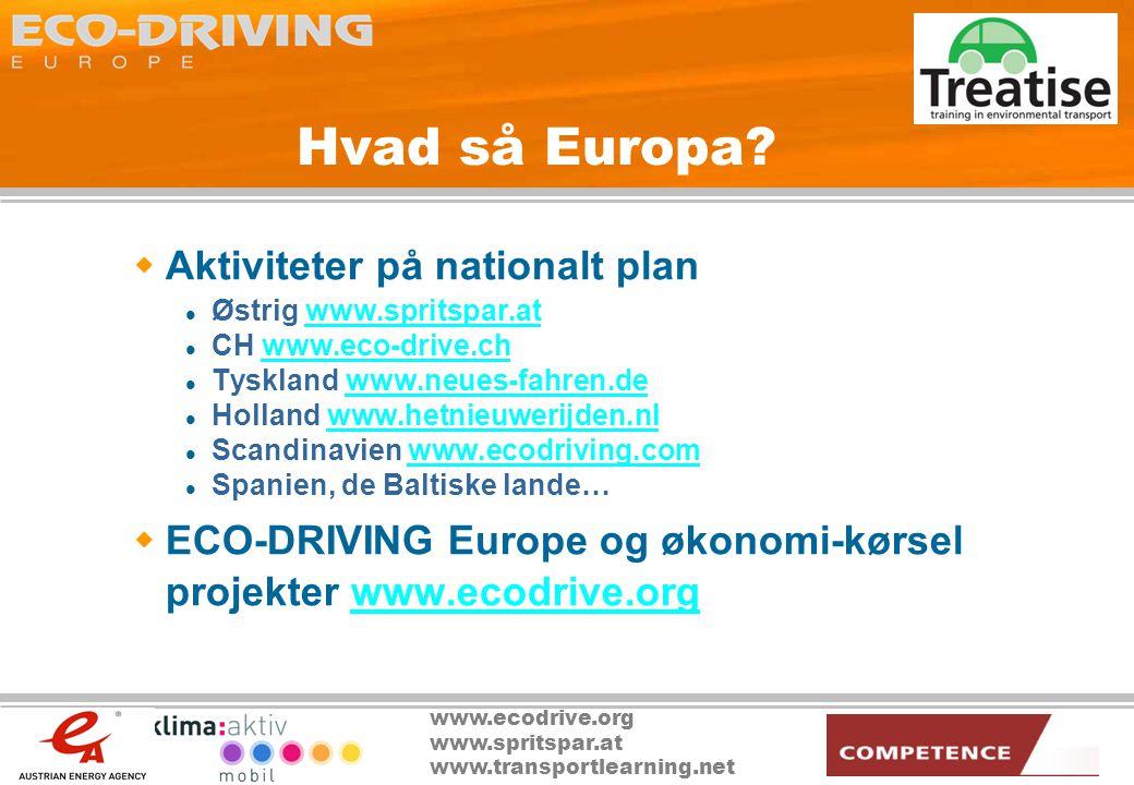 www.ecodrive.org www.spritspar.at www.transportlearning.net Hvad så Europa.