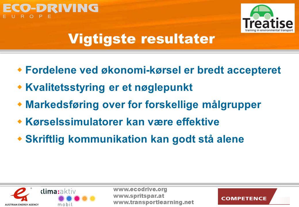 www.ecodrive.org www.spritspar.at www.transportlearning.net Vigtigste resultater  Fordelene ved økonomi-kørsel er bredt accepteret  Kvalitetsstyring er et nøglepunkt  Markedsføring over for forskellige målgrupper  Kørselssimulatorer kan være effektive  Skriftlig kommunikation kan godt stå alene