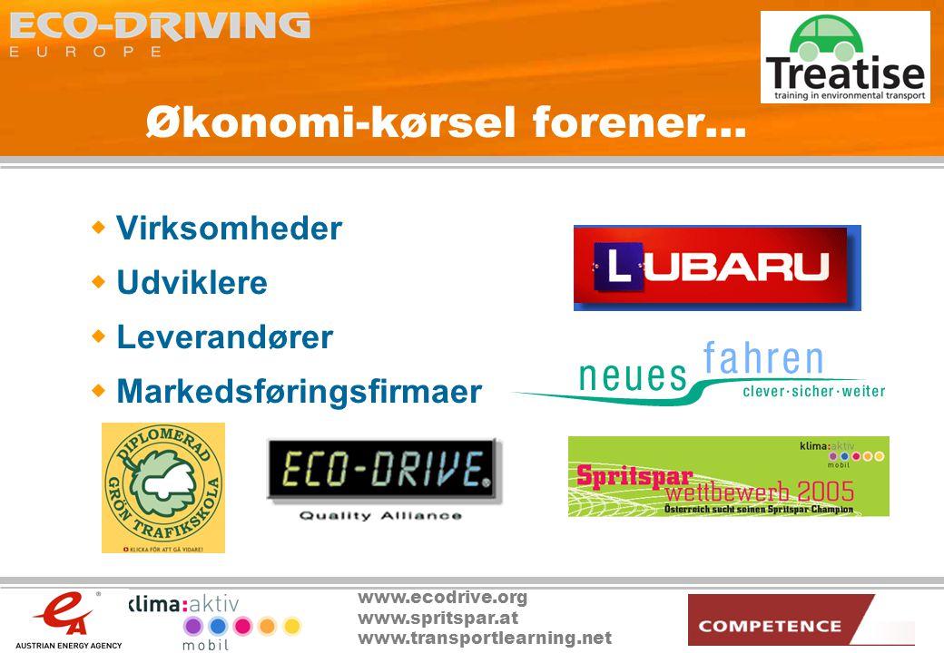 www.ecodrive.org www.spritspar.at www.transportlearning.net Økonomi-kørsel forener...