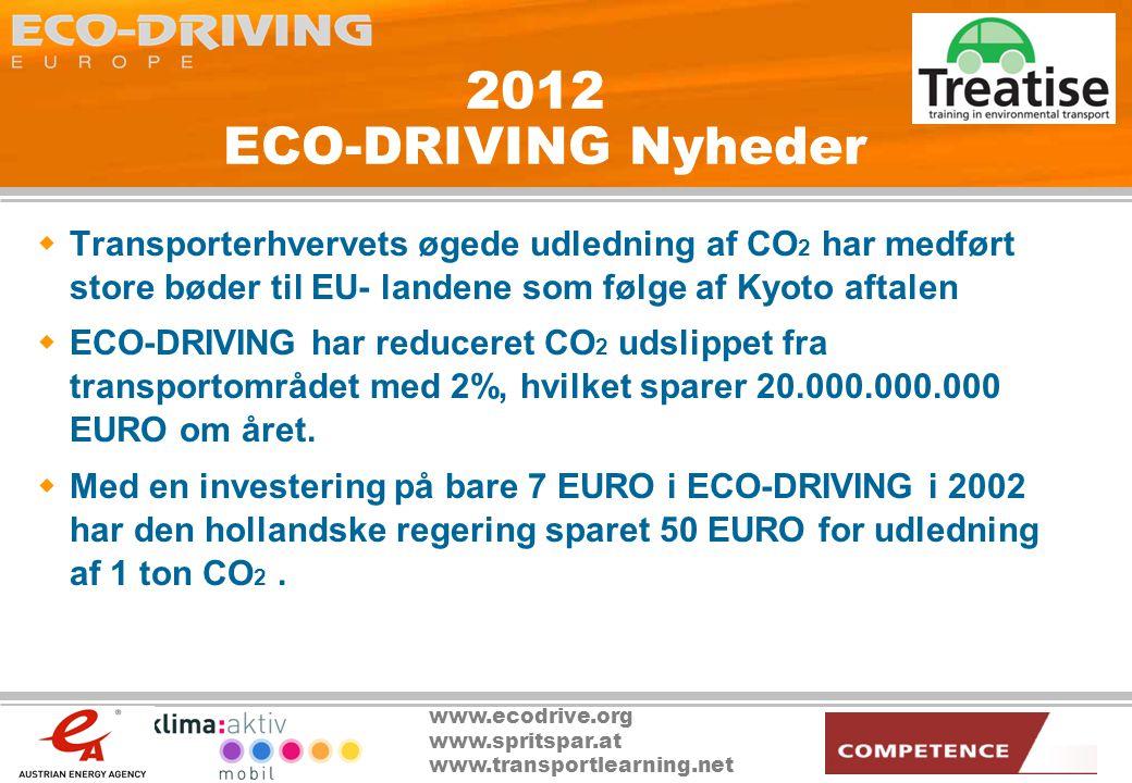 www.ecodrive.org www.spritspar.at www.transportlearning.net 2012 ECO-DRIVING Nyheder  Transporterhvervets øgede udledning af CO 2 har medført store bøder til EU- landene som følge af Kyoto aftalen  ECO-DRIVING har reduceret CO 2 udslippet fra transportområdet med 2%, hvilket sparer 20.000.000.000 EURO om året.