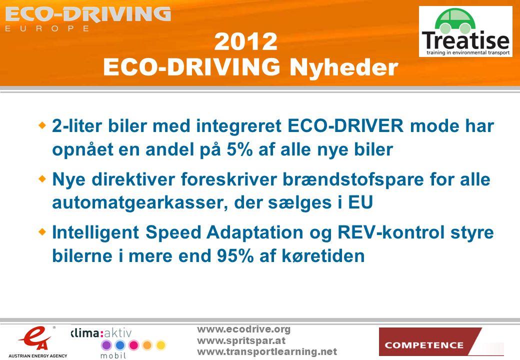 www.ecodrive.org www.spritspar.at www.transportlearning.net 2012 ECO-DRIVING Nyheder  2-liter biler med integreret ECO-DRIVER mode har opnået en andel på 5% af alle nye biler  Nye direktiver foreskriver brændstofspare for alle automatgearkasser, der sælges i EU  Intelligent Speed Adaptation og REV-kontrol styre bilerne i mere end 95% af køretiden