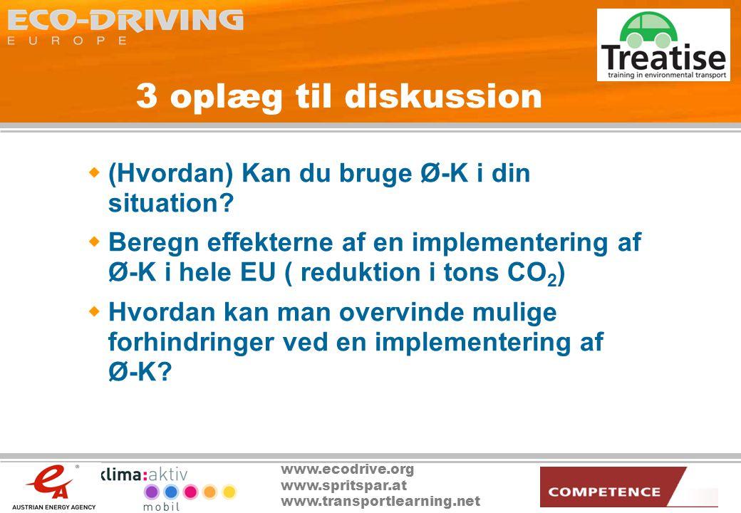 www.ecodrive.org www.spritspar.at www.transportlearning.net 3 oplæg til diskussion  (Hvordan) Kan du bruge Ø-K i din situation.