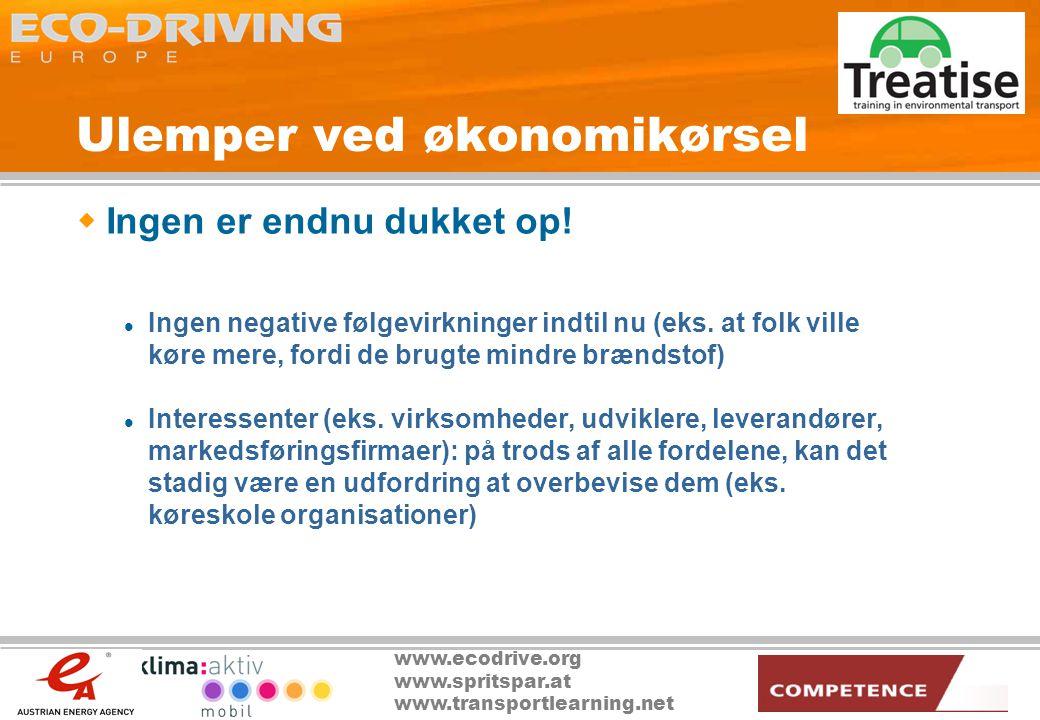www.ecodrive.org www.spritspar.at www.transportlearning.net Ulemper ved økonomikørsel  Ingen er endnu dukket op.
