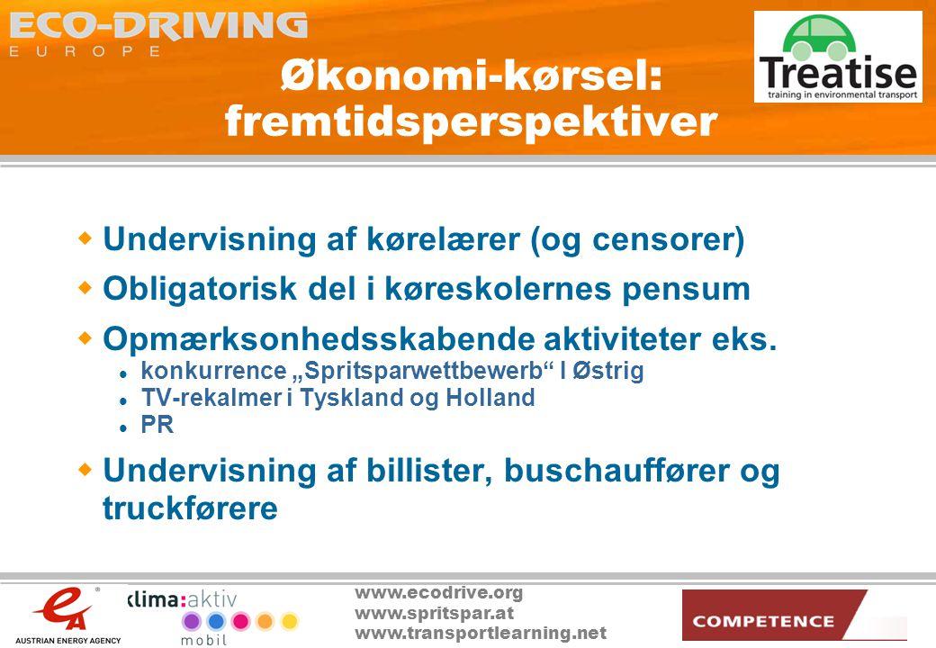 www.ecodrive.org www.spritspar.at www.transportlearning.net Økonomi-kørsel: fremtidsperspektiver  Undervisning af kørelærer (og censorer)  Obligatorisk del i køreskolernes pensum  Opmærksonhedsskabende aktiviteter eks.
