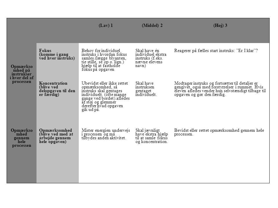 (Lav) 1(Middel) 2(Høj) 3 Opmærkso mhed på instrukser i hver del af processen Fokus (komme i gang ved hver instruks) Behov for individuel instruks i hvordan fokus samles.(lægge blyanten, tie stille, se op o.