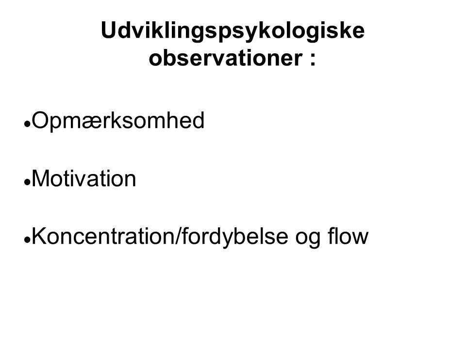 Udviklingspsykologiske observationer :  Opmærksomhed  Motivation  Koncentration/fordybelse og flow