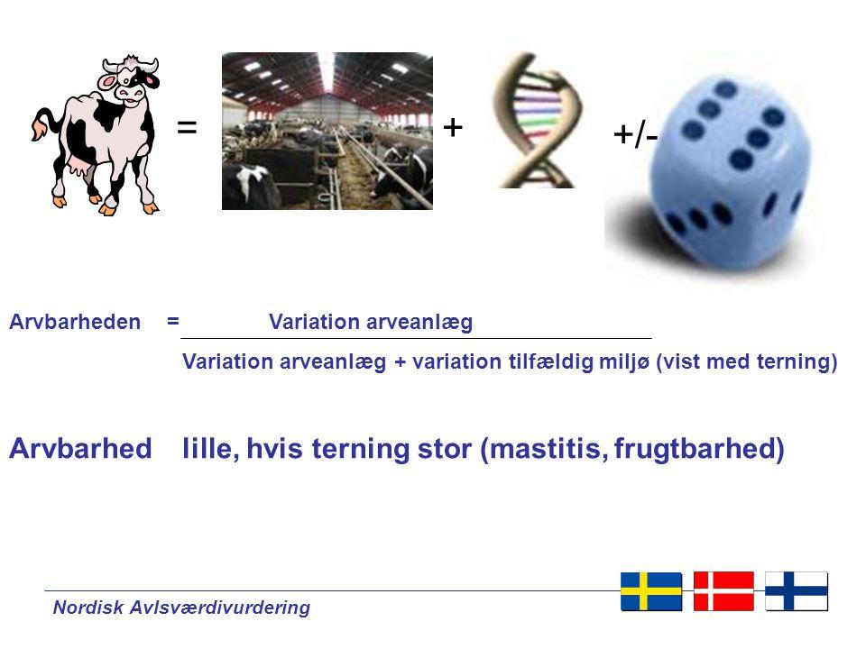 Nordisk Avlsværdivurdering + +/- = Arvbarheden = Variation arveanlæg Variation arveanlæg + variation tilfældig miljø (vist med terning) Arvbarhedlille, hvis terning stor (mastitis, frugtbarhed)