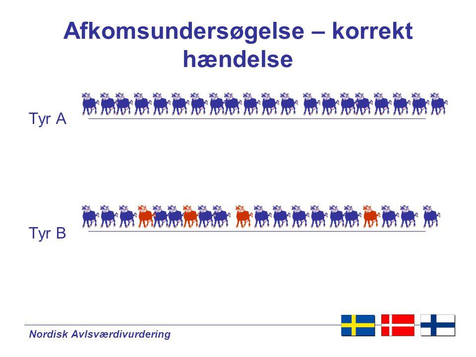 Nordisk Avlsværdivurdering Afkomsundersøgelse – korrekt hændelse Tyr A Tyr B
