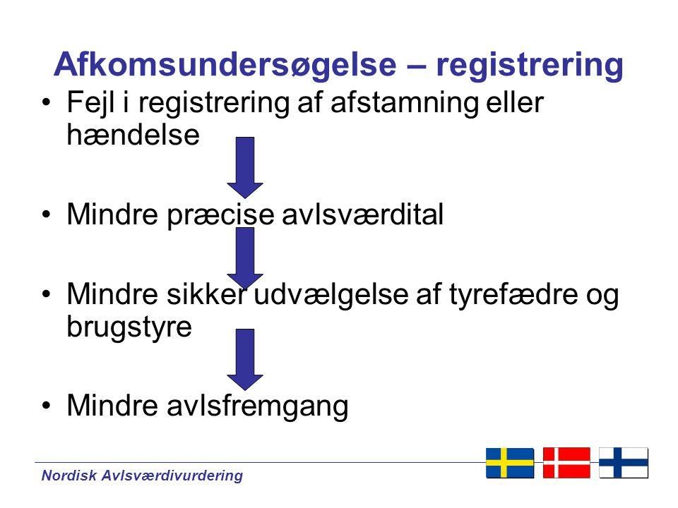 Nordisk Avlsværdivurdering Afkomsundersøgelse – registrering •Fejl i registrering af afstamning eller hændelse •Mindre præcise avlsværdital •Mindre sikker udvælgelse af tyrefædre og brugstyre •Mindre avlsfremgang