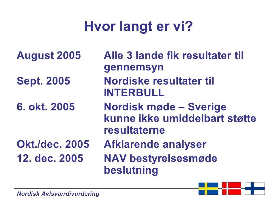 Nordisk Avlsværdivurdering Hvor langt er vi.
