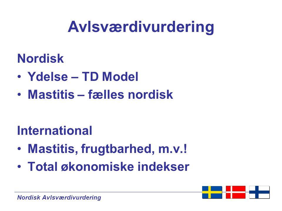 Nordisk Avlsværdivurdering Avlsværdivurdering Nordisk •Ydelse – TD Model •Mastitis – fælles nordisk International •Mastitis, frugtbarhed, m.v..