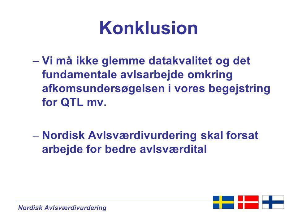 Nordisk Avlsværdivurdering Konklusion –Vi må ikke glemme datakvalitet og det fundamentale avlsarbejde omkring afkomsundersøgelsen i vores begejstring for QTL mv.