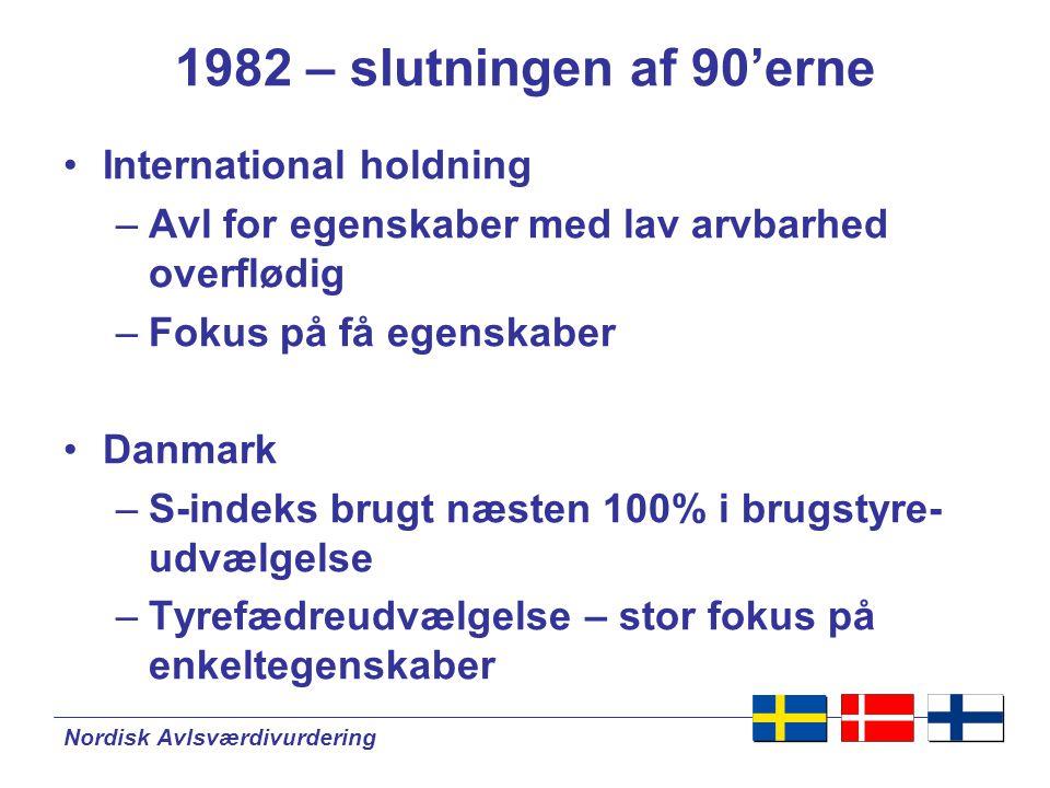 Nordisk Avlsværdivurdering 1982 – slutningen af 90'erne •International holdning –Avl for egenskaber med lav arvbarhed overflødig –Fokus på få egenskaber •Danmark –S-indeks brugt næsten 100% i brugstyre- udvælgelse –Tyrefædreudvælgelse – stor fokus på enkeltegenskaber