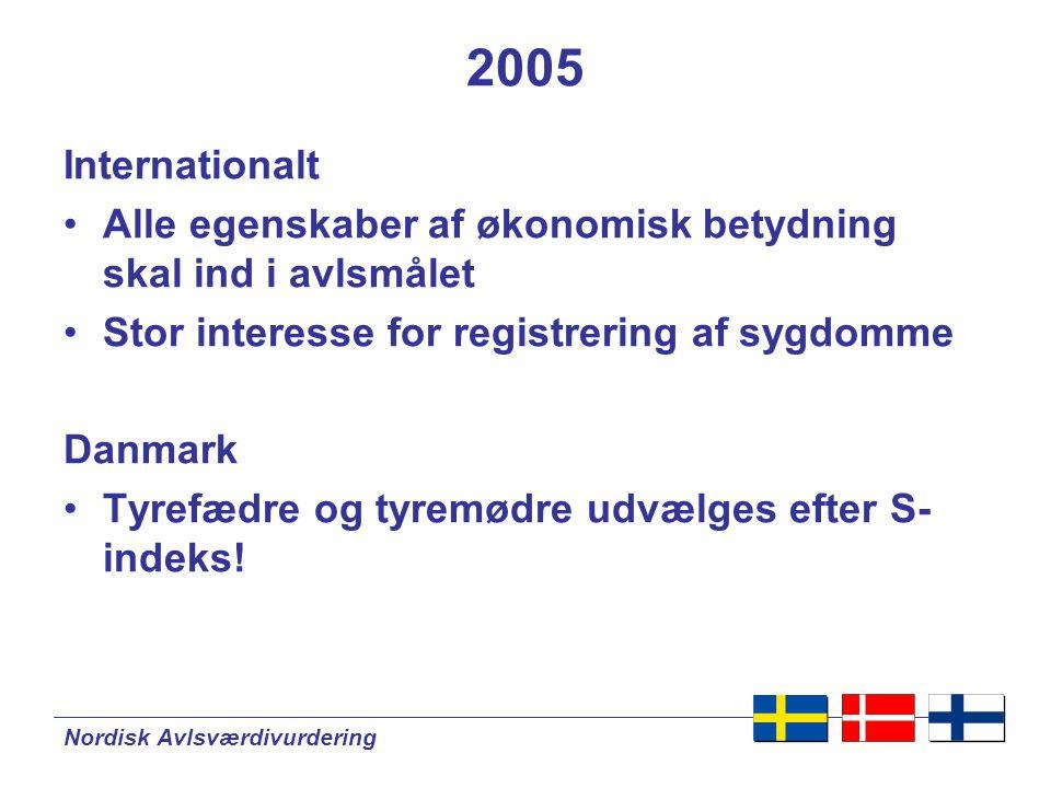 Nordisk Avlsværdivurdering 2005 Internationalt •Alle egenskaber af økonomisk betydning skal ind i avlsmålet •Stor interesse for registrering af sygdomme Danmark •Tyrefædre og tyremødre udvælges efter S- indeks!