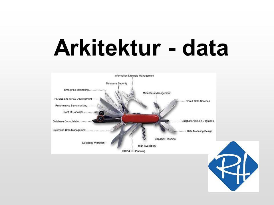 RHS - Informationsteknologi 2 Data-arkitektur •Formålet med data-arkitekturen (data-modellen) er at beskrive alle data, som er relevante for virksomhedens drift •En data-model er logisk, dvs der tages ikke stilling til, hvilke form data har –Elektronisk –Manuelle –Eksterne, interne •Vi kan også godt beskrive flow af data