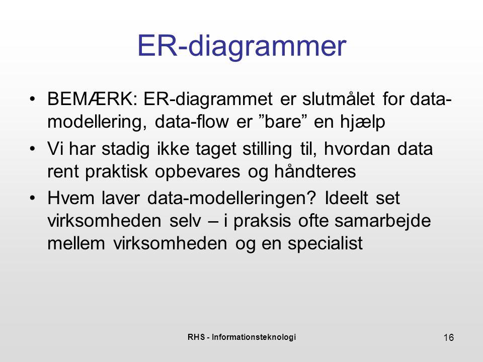 """RHS - Informationsteknologi 16 ER-diagrammer •BEMÆRK: ER-diagrammet er slutmålet for data- modellering, data-flow er """"bare"""" en hjælp •Vi har stadig ik"""